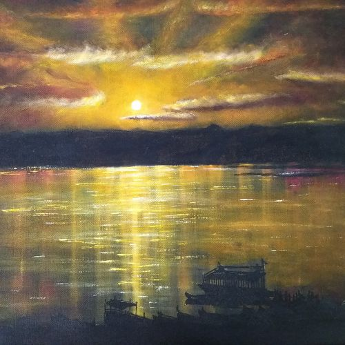 sunset on benaras ghat, 28 x 22 inch, jugnu bakshi,28x22inch,hardboard,paintings,nature paintings | scenery paintings,paintings for dining room,wood,GAL0969338180