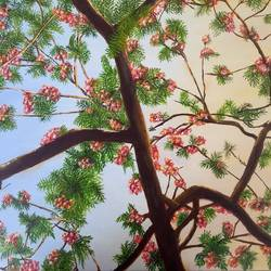 gulmohar in bloom, 24 x 18 inch, jugnu bakshi,24x18inch,canvas,paintings,flower paintings,paintings for dining room,fabric,GAL0969338181