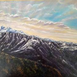 sunrise in the himalayas, 20 x 15 inch, jugnu bakshi,20x15inch,canvas,paintings,landscape paintings,paintings for living room,fabric,GAL0969338183
