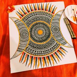 mandala- sun and moon, 13 x 15 inch, anjitha sanjay,13x15inch,thick paper,drawings,modern drawings,paintings for dining room,paintings for living room,paintings for bedroom,paintings for kids room,paintings for hotel,acrylic color,ball point pen,GAL02657438189