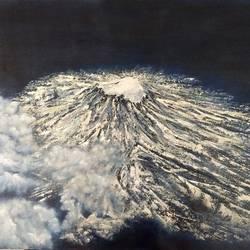 snowbound volcanic mountain, 28 x 19 inch, jugnu bakshi,28x19inch,canvas,paintings,landscape paintings,paintings for living room,fabric,GAL0969338191