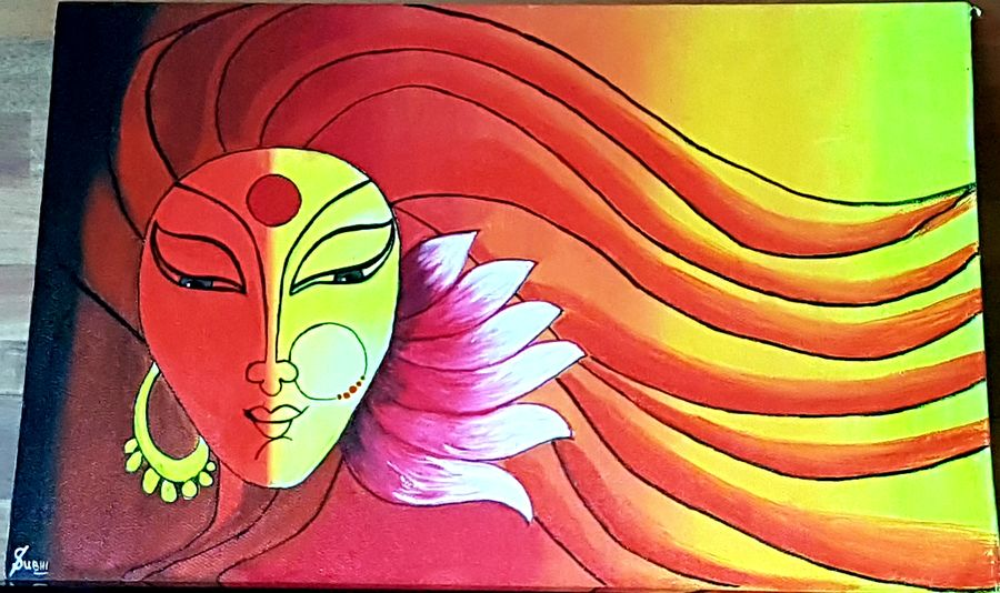 maa durga , 20 x 16 inch, subhi agarwal ,20x16inch,canvas board,paintings,modern art paintings,religious paintings,acrylic color,GAL02657938195