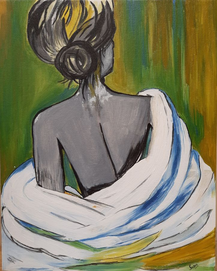 the lady, 16 x 20 inch, subhi agarwal ,16x20inch,canvas,paintings,modern art paintings,paintings for dining room,paintings for living room,acrylic color,GAL02657938196