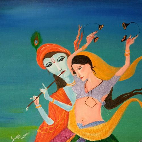 radha krishna , 20 x 24 inch, subhi agarwal ,20x24inch,canvas board,paintings,expressionism paintings,radha krishna paintings,paintings for living room,paintings for bathroom,acrylic color,GAL02657938197