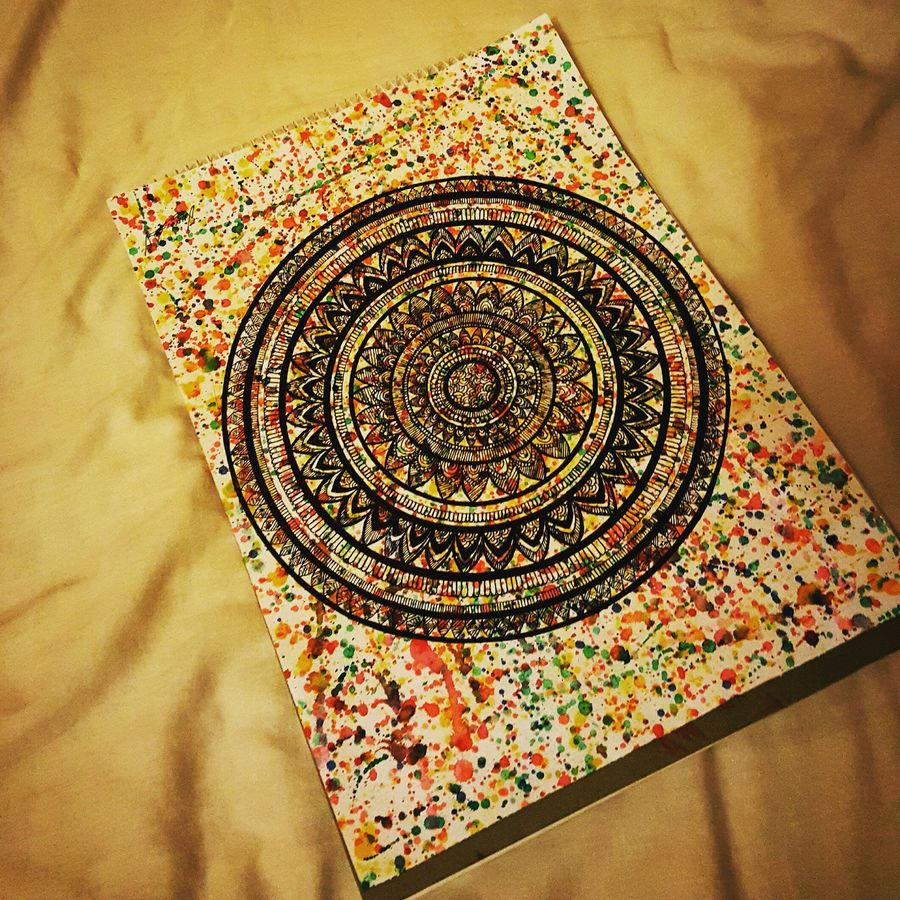 hand painted mandala, 8 x 12 inch, luma iqbal,foil paintings,paintings for living room,thick paper,watercolor,8x12inch,GAL0167382
