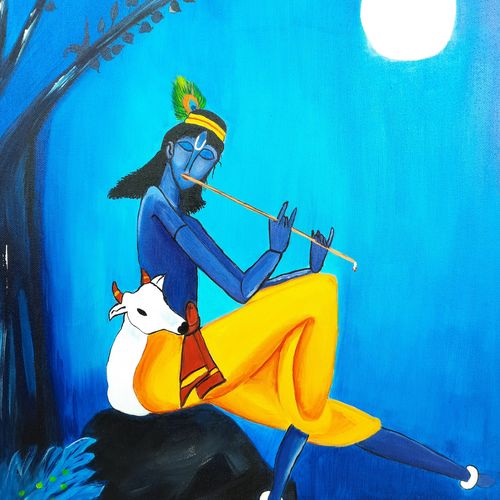 shree krishna , 16 x 20 inch, subhi agarwal ,16x20inch,canvas,paintings,radha krishna paintings,paintings for dining room,paintings for living room,acrylic color,GAL02657938202