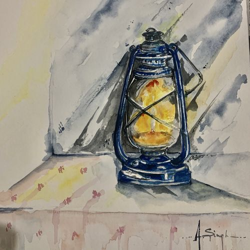 vintage lantern , 8 x 12 inch, anju singh,8x12inch,thick paper,paintings,still life paintings,art deco paintings,impressionist paintings,photorealism paintings,realistic paintings,paintings for dining room,paintings for living room,paintings for office,paintings for hotel,watercolor,paper,GAL02658138207