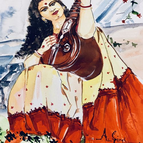 saraswati , 8 x 12 inch, anju singh,8x12inch,thick paper,paintings,modern art paintings,conceptual paintings,religious paintings,abstract expressionism paintings,expressionism paintings,illustration paintings,impressionist paintings,realism paintings,realistic paintings,love paintings,kalighat painting,paintings for dining room,paintings for living room,paintings for office,paintings for kids room,paintings for hotel,paintings for kitchen,paintings for school,paintings for dining room,paintings for living room,paintings for office,paintings for kids room,paintings for hotel,paintings for kitchen,paintings for school,watercolor,paper,GAL02658138208