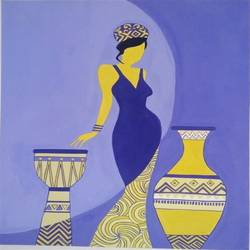 lady with pots, 11 x 15 inch, amanpreet kaur,abstract paintings,paintings for bedroom,handmade paper,poster color,11x15inch,GAL013903821