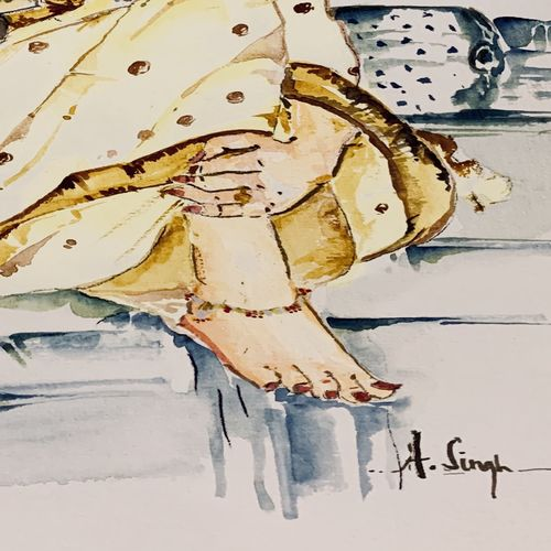 lady reading a book , 8 x 12 inch, anju singh,8x12inch,thick paper,paintings,figurative paintings,modern art paintings,abstract expressionism paintings,expressionism paintings,illustration paintings,impressionist paintings,realism paintings,surrealism paintings,contemporary paintings,love paintings,kalighat painting,paintings for dining room,paintings for living room,paintings for bedroom,paintings for office,paintings for kids room,paintings for hotel,paintings for kitchen,paintings for school,paintings for hospital,watercolor,paper,GAL02658138210