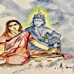 krishna always with me , 8 x 12 inch, anju singh,8x12inch,thick paper,abstract paintings,figurative paintings,folk art paintings,modern art paintings,conceptual paintings,religious paintings,abstract expressionism paintings,expressionism paintings,illustration paintings,impressionist paintings,radha krishna paintings,contemporary paintings,love paintings,paintings for dining room,paintings for living room,paintings for bedroom,paintings for office,paintings for kids room,paintings for hotel,paintings for kitchen,paintings for school,paintings for hospital,paintings for dining room,paintings for living room,paintings for bedroom,paintings for office,paintings for kids room,paintings for hotel,paintings for kitchen,paintings for school,paintings for hospital,watercolor,paper,GAL02658138212