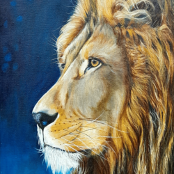 his majesty - the king of the jungle, 12 x 24 inch, vasantha dasarath,12x24inch,canvas,paintings,wildlife paintings,animal paintings,paintings for dining room,paintings for living room,paintings for bedroom,paintings for office,paintings for kids room,paintings for hotel,paintings for kitchen,paintings for school,oil color,GAL02659238222