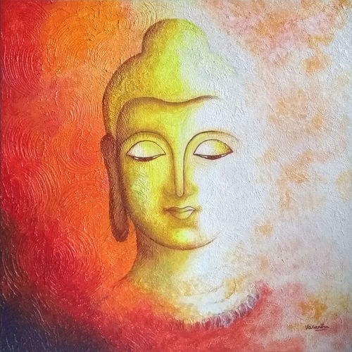 the tranquil buddha , 18 x 18 inch, vasantha dasarath,18x18inch,canvas,paintings,abstract paintings,buddha paintings,figurative paintings,religious paintings,paintings for dining room,paintings for living room,paintings for bedroom,paintings for office,paintings for kids room,paintings for hotel,paintings for kitchen,paintings for school,paintings for hospital,acrylic color,GAL02659238224