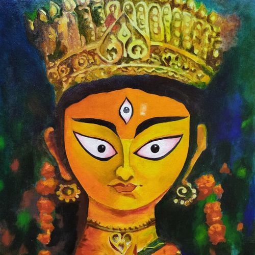 ya devi, 20 x 27 inch, rajesh bhowmik,20x27inch,canvas,paintings,figurative paintings,religious paintings,paintings for living room,paintings for office,paintings for hospital,paintings for living room,paintings for office,paintings for hospital,fabric,oil color,GAL02659838226