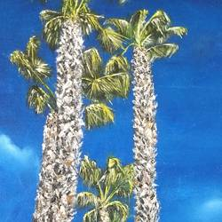 palm trees in losangeles, 14 x 20 inch, jugnu bakshi,14x20inch,canvas,paintings,landscape paintings,paintings for bedroom,fabric,oil color,GAL0969338227