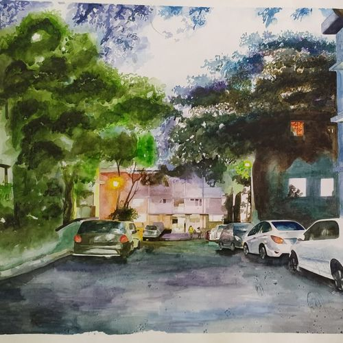 my courtyard, 30 x 22 inch, rajesh bhowmik,30x22inch,fabriano sheet,paintings,landscape paintings,nature paintings | scenery paintings,paintings for dining room,paintings for living room,paintings for bedroom,paintings for office,paintings for hotel,paintings for hospital,watercolor,paper,GAL02659838228