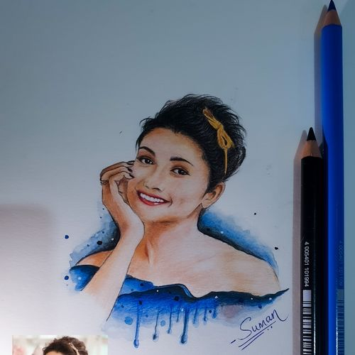 celebrity portrait (prachi desai) , 8 x 11 inch, suman bhoot,8x11inch,thick paper,drawings,paintings for living room,paintings for bedroom,modern drawings,photorealism drawings,portrait drawings,realism drawings,paintings for living room,paintings for bedroom,mixed media,pencil color,watercolor,paper,GAL02660138232