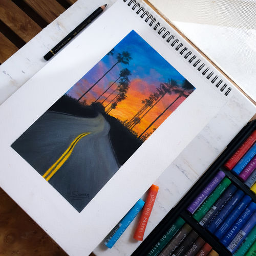 oil pastel scenery drawing , 8 x 11 inch, suman bhoot,8x11inch,thick paper,paintings,modern art paintings,conceptual paintings,illustration paintings,minimalist paintings,paintings for dining room,paintings for living room,paintings for bedroom,paintings for kids room,paintings for hotel,paintings for school,mixed media,pastel color,paper,GAL02660138234