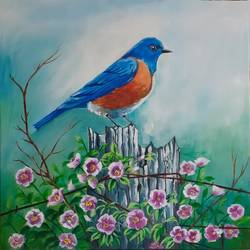 bird painting ., 12 x 12 inch, apoorva shirsat,12x12inch,canvas board,paintings,wildlife paintings,flower paintings,realistic paintings,paintings for dining room,paintings for living room,paintings for bedroom,paintings for office,paintings for hotel,acrylic color,GAL02646538237