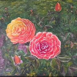 roses in cunnoor, 22 x 15 inch, jugnu bakshi,22x15inch,canvas,paintings,flower paintings,nature paintings | scenery paintings,paintings for bedroom,fabric,oil color,GAL0969338244