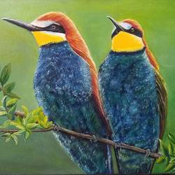 birds of a feather flock together, 28 x 17 inch, jugnu bakshi,28x17inch,canvas,wildlife paintings,paintings for living room,paintings for living room,fabric,oil color,GAL0969338246