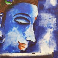 lord krishna, 11 x 15 inch, raghu godisela,11x15inch,handmade paper,paintings,figurative paintings,acrylic color,GAL01245038251
