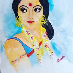 the woman, 8 x 8 inch, paramita chowdhury,8x8inch,thick paper,modern art paintings,acrylic color,paper,GAL02315338262