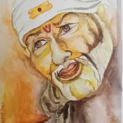 om sai, 8 x 8 inch, paramita chowdhury,8x8inch,thick paper,paintings,religious paintings,poster color,GAL02315338263