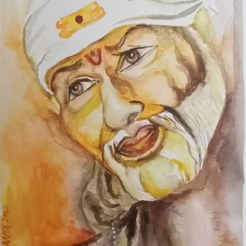 om sai, 8 x 8 inch, paramita chowdhury,8x8inch,thick paper,paintings,religious paintings,poster color,GAL02315338264