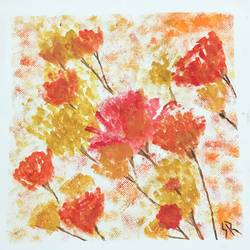golden and red flowers, 12 x 12 inch, susmita reddy,flower paintings,paintings for bedroom,thick paper,acrylic color,12x12inch,GAL014033827