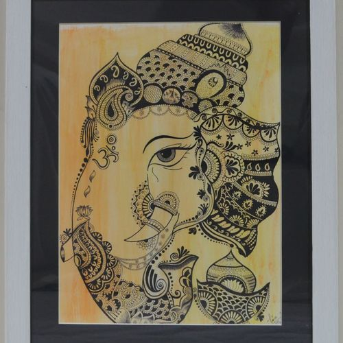 vignaharta, 14 x 18 inch, tina sharma,14x18inch,drawing paper,drawings,fine art drawings,ganesha drawings,paintings for dining room,paintings for living room,paintings for school,pen color,watercolor,paper,GAL02657038278