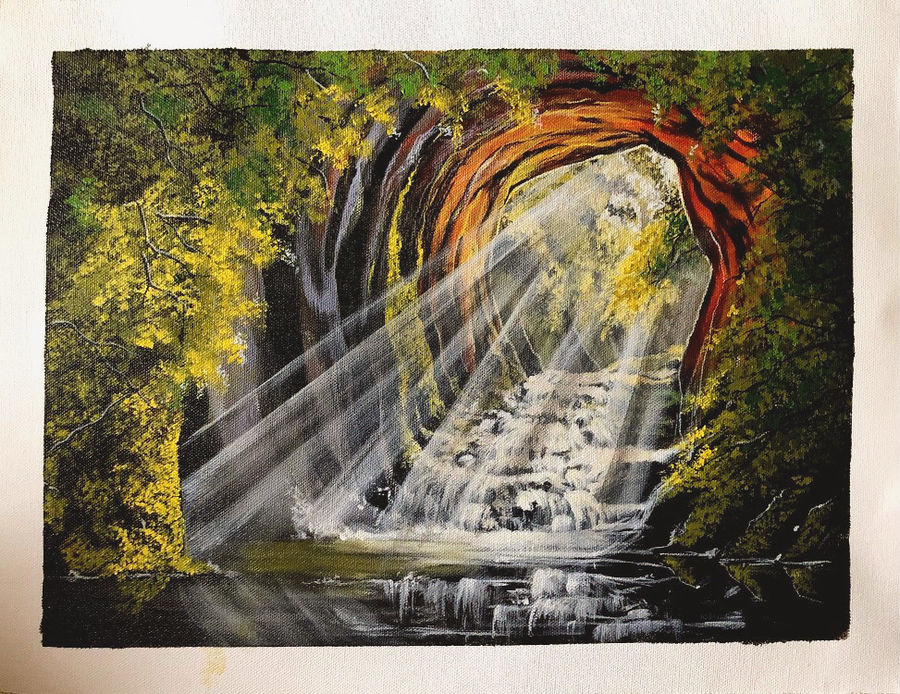 cave, 17 x 13 inch, neha harish,17x13inch,canvas,wildlife paintings,nature paintings | scenery paintings,acrylic color,GAL02666738279