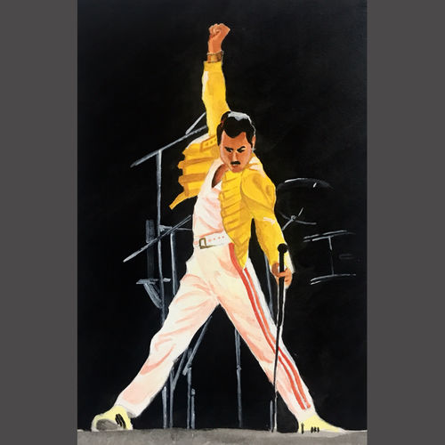 freddie mercury, 8 x 12 inch, neha harish,8x12inch,thick paper,paintings,figurative paintings,portrait paintings,minimalist paintings,photorealism paintings,photorealism,paintings for dining room,paintings for living room,paintings for bedroom,paintings for office,paintings for kids room,paintings for hotel,paintings for kitchen,paintings for school,acrylic color,GAL02666738284