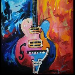abstract pop art guitar, 8 x 11 inch, anupam das,8x11inch,thick paper,paintings,abstract paintings,modern art paintings,abstract expressionism paintings,art deco paintings,paintings for dining room,paintings for living room,paintings for kids room,paintings for hotel,acrylic color,GAL02488538291