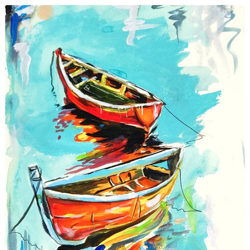 two boats, 8 x 11 inch, anupam das,8x11inch,thick paper,paintings,abstract paintings,landscape paintings,conceptual paintings,nature paintings | scenery paintings,art deco paintings,street art,contemporary paintings,paintings for dining room,paintings for living room,paintings for bedroom,paintings for kids room,paintings for hotel,paintings for school,acrylic color,GAL02488538292