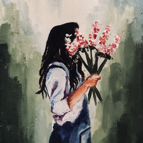 girl, 5 x 6 inch, neha harish,5x6inch,canvas,paintings,figurative paintings,flower paintings,conceptual paintings,portrait paintings,contemporary paintings,love paintings,paintings for dining room,paintings for living room,paintings for bedroom,paintings for office,paintings for bathroom,paintings for kids room,paintings for hotel,paintings for kitchen,paintings for school,paintings for hospital,acrylic color,GAL02666738299