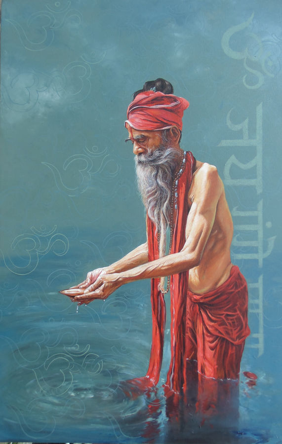 sadhu , 36 x 57 inch, satyabrata karmakar,figurative paintings,paintings for living room,canvas,acrylic color,36x57inch,GAL0168383