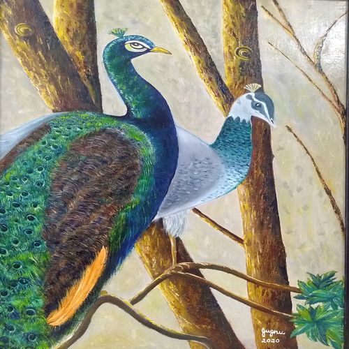 peacocks, 20 x 30 inch, jugnu bakshi,20x30inch,hardboard,paintings,wildlife paintings,nature paintings | scenery paintings,paintings for living room,oil color,wood,GAL0969338303