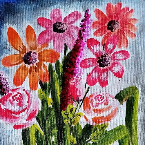 bunch of flowers, 8 x 12 inch, suhana  sabnum,8x12inch,canvas,paintings,dog painting,elephant paintings,kalighat painting,paintings for dining room,paintings for living room,paintings for bedroom,paintings for office,paintings for bathroom,paintings for kids room,paintings for hotel,paintings for kitchen,paintings for school,paintings for hospital,acrylic color,GAL02613538316