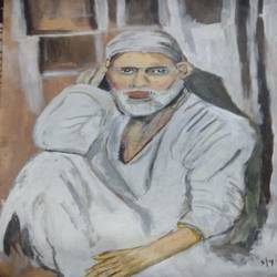 sai baba, 19 x 12 inch, suresh yadav,19x12inch,canvas,paintings,religious paintings,portrait paintings,paintings for dining room,paintings for living room,paintings for office,paintings for school,paintings for hospital,acrylic color,fabric,GAL02620938323