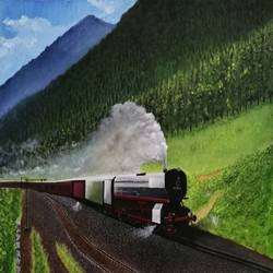 steam locomotive, 24 x 19 inch,  nil rabha,24x19inch,canvas,paintings,landscape paintings,paintings for dining room,paintings for living room,paintings for bedroom,paintings for dining room,paintings for living room,paintings for bedroom,oil color,GAL02231238334