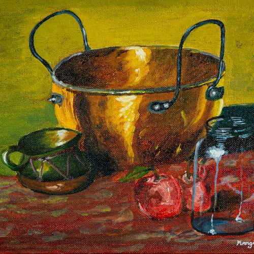 kitchen ware with apples, 10 x 8 inch, mangesh dani,10x8inch,canvas,paintings,still life paintings,impressionist paintings,paintings for dining room,paintings for kitchen,paintings for dining room,paintings for kitchen,oil color,GAL02579738339