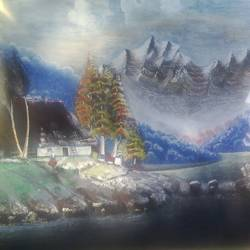 lakeside sojourn, 45 x 22 inch, gopalakrishnan p,landscape paintings,paintings for living room,drawing paper,oil,45x22inch,GAL013743834
