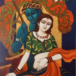 radha krishna, 36 x 30 inch, tanmoy  roy chowdhury,36x30inch,canvas,paintings,figurative paintings,paintings for dining room,paintings for living room,paintings for dining room,paintings for living room,acrylic color,GAL02673738343