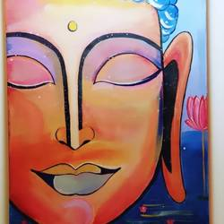 lord buddha painting (colors of serenity), 20 x 24 inch, shikha rajpurohit sharma,20x24inch,canvas,paintings,buddha paintings,religious paintings,illustration paintings,acrylic color,GAL02682238349