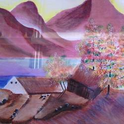 red hills, 45 x 17 inch, gopalakrishnan p,landscape paintings,paintings for living room,thick paper,oil,45x17inch,GAL013743835