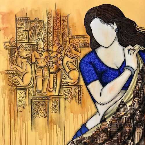pratima, 29 x 33 inch, mrinal  dutt,29x33inch,canvas,figurative paintings,religious paintings,acrylic color,GAL01311738354