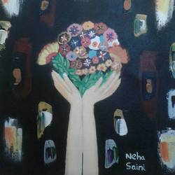 expressive hands, 10 x 12 inch, neha saini,10x12inch,canvas,abstract paintings,paintings for living room,paintings for living room,acrylic color,GAL02682538355