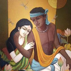 couple, 36 x 30 inch, tanmoy  roy chowdhury,36x30inch,canvas,paintings,figurative paintings,paintings for dining room,paintings for living room,acrylic color,GAL02673738356
