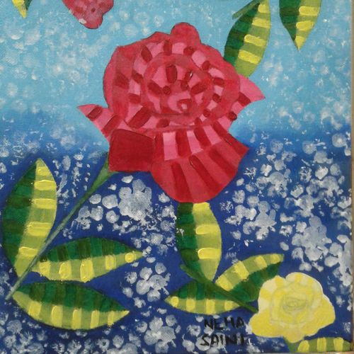 pretty like a rose, 10 x 12 inch, neha saini,10x12inch,canvas,paintings,abstract paintings,flower paintings,paintings for living room,paintings for bedroom,acrylic color,GAL02682538358